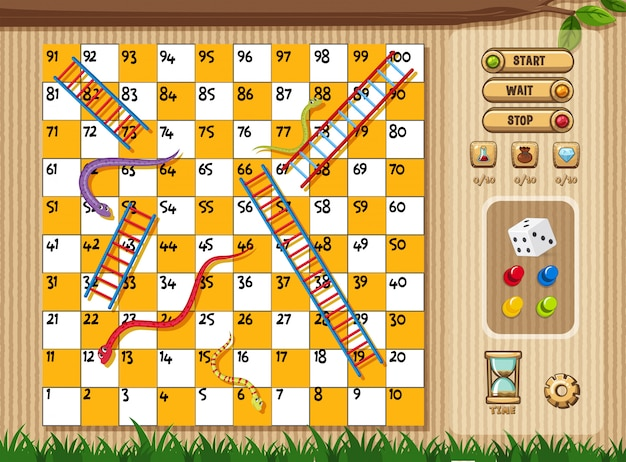 Snake and ladder game with tree and grass background