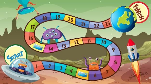 Modello di gioco serpente e scale con tema spaziale