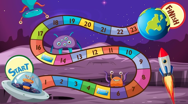 Snake and ladders game template with space theme