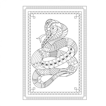 直線的なスタイルのヘビマンダラzentangleイラスト