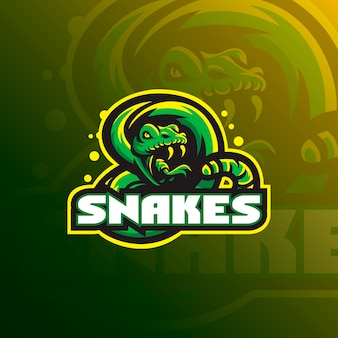 Snake mascot logo design with modern illustration concept style for badge, emblem and t shirt printing.