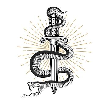 Змея на нож в стиле тату. элемент для футболки, плакат, открытка, эмблема, знак. иллюстрация