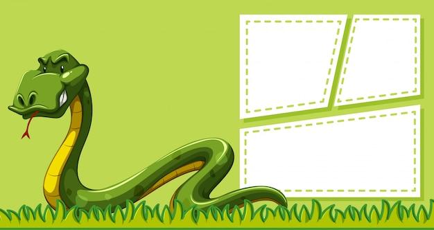 Змея на шаблоне заметки