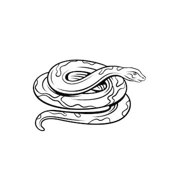 ヘビのアウトラインアイコン。動物園の毒蛇動物バッジ