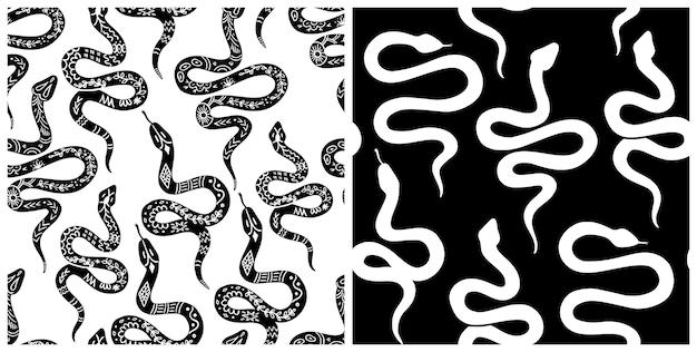 뱀 패턴, 흑백 천상의 뱀 원활한 패턴. boho, 신비로운 그래픽 스타일의 뱀 실루엣. 벡터 일러스트 레이 션 linocut 스타일의 보헤미안 장식입니다. 신비한 뱀 배경