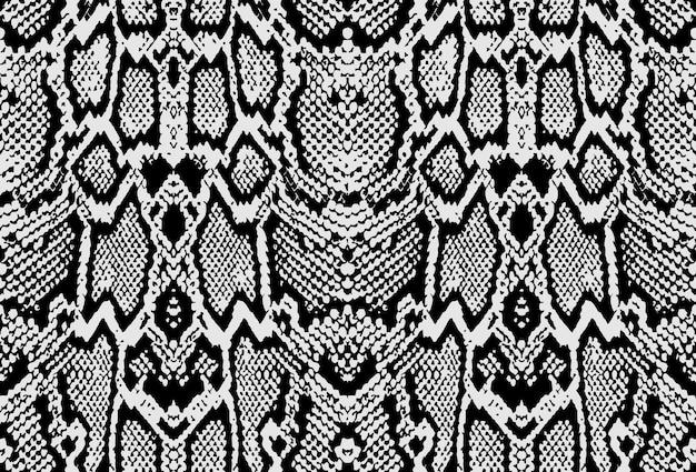 뱀 파이썬 피부 질감. 흰색 바탕에 검은색 원활한 패턴입니다. 벡터