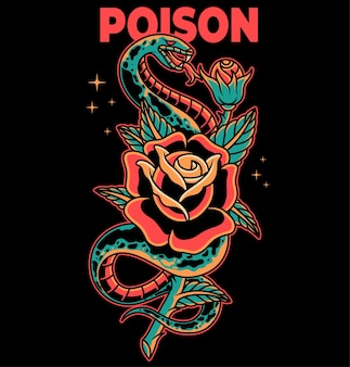 Snake and rose traditional tattoo vector illustration on separate object and background
