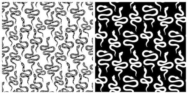 뱀 완벽 한 패턴입니다. 벡터 뱀 배경 실루엣입니다. 흑백 야생 동물 프린트. 격리된 손으로 그린 뱀은 패턴을 반복합니다. 보헤미안, 신비로운 그래픽 스타일의 뱀 실루엣.