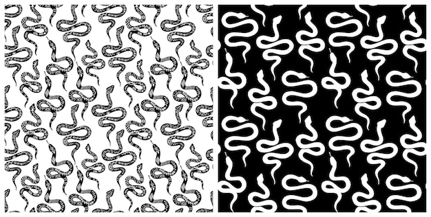 Snake seamless pattern. vector serpent background silhouettes. black and white wild animal print. isolated hand drawn snakes repeat pattern. serpent silhouettes in boho, mystical graphic style.