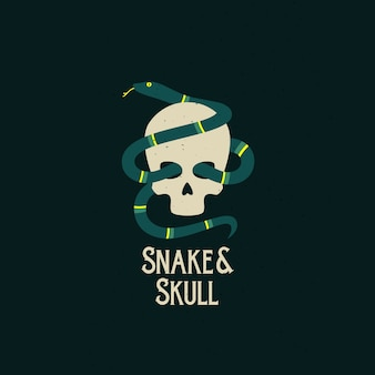 Snake and skull abstract  icon