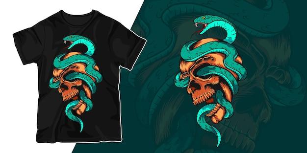 Snake and skull artwork illustration t shirt design