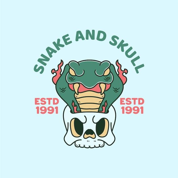 Snake and skull illustration vintage retro
