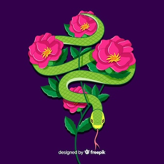 Snake with flowers background