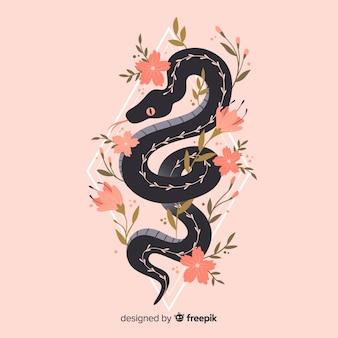 꽃 배경으로 뱀