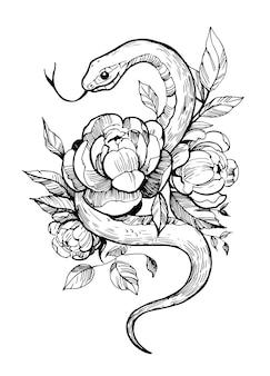 Змея с цветами. рисованной иллюстрации, изолированные на белом