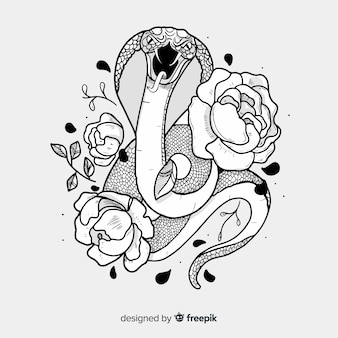 Snake with flowers illustration