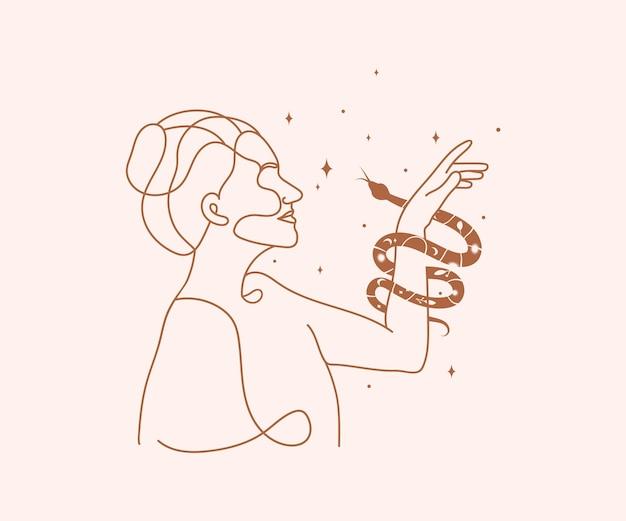 뱀은 여자 손 신비주의 마법의 로고 여성 라인 아트 별 뱀 디자인 요소를 감쌉니다.