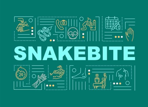 蛇咬傷の応急処置、かまれた傷の薬、アレルギー反応の単語の概念のバナー。緑の背景に線形アイコンとインフォグラフィック。孤立したタイポグラフィ。ベクトルアウトラインrgbカラーイラスト