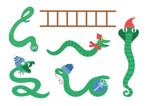 Змеи и лестница клипарт. веселые новогодние животные в шапках и шарфах для развивающей настольной игры. симпатичные зимние змеи иллюстрации, изолированные на белом фоне.
