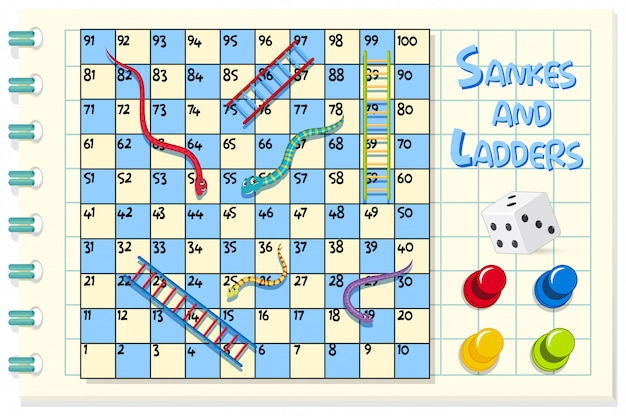 Snakes and ladders game on blue and white grid