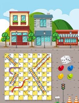 Snakes and ladders game on city background