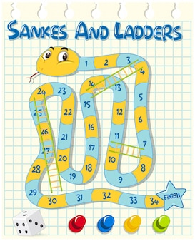 Snakes and ladders game on grid paper