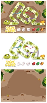 Snakes and ladders game set with garden