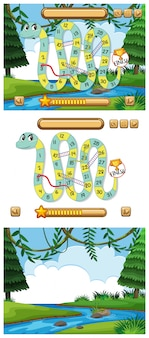 Snakes and ladders game set with pond background