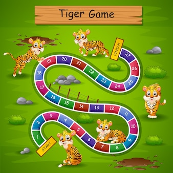 Snakes ladders game tiger theme