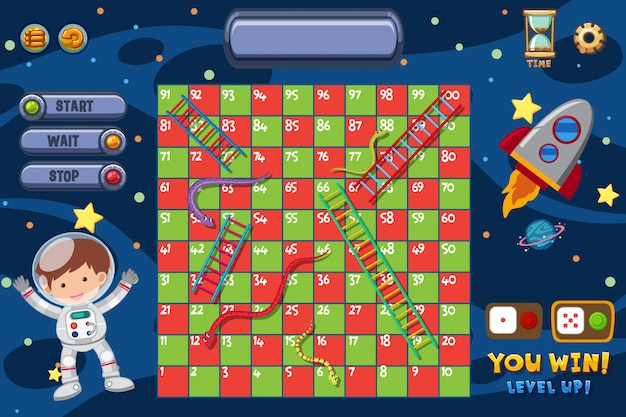 Snakes and ladders game with man and spaceship