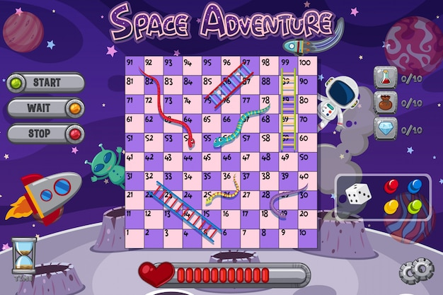 Snakes and ladders game with space