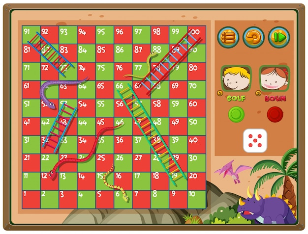 Snakes and ladders game with triceratops