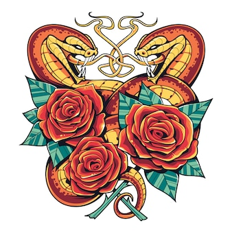 Snakes with roses  art