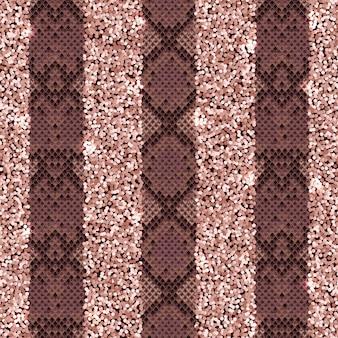 スネークスキンとキラキラファッション縦縞のシームレスパターン