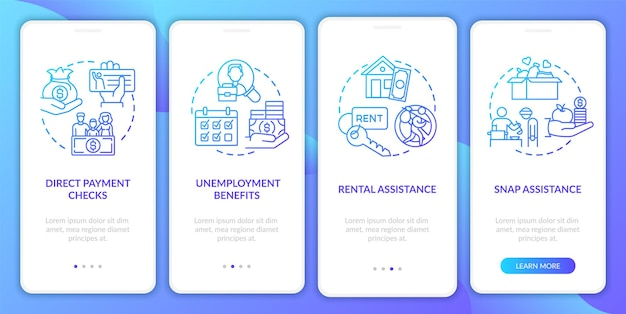 Snap assistance onboarding mobile app page screen with concepts. covid relief package benefits walkthrough 4 steps . ui  template with rgb color illustrations