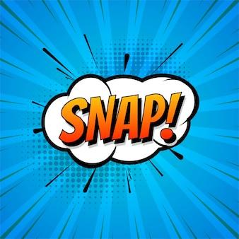 Snap bubble talk in pop-art style blue background