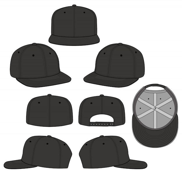 Snapback cap set fashion flat technical drawing