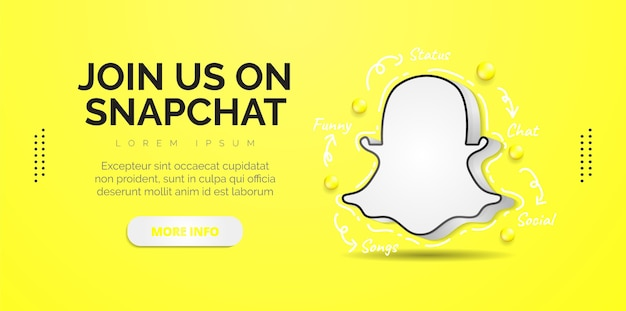 Snapchat social media design with yellow background