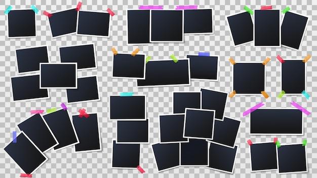 Снимки кадров, мгновенное фото макет и шаблон партии фото стены векторная иллюстрация