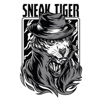 Sneak tiger black and white illustration