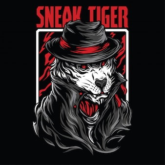Sneak tiger illustration