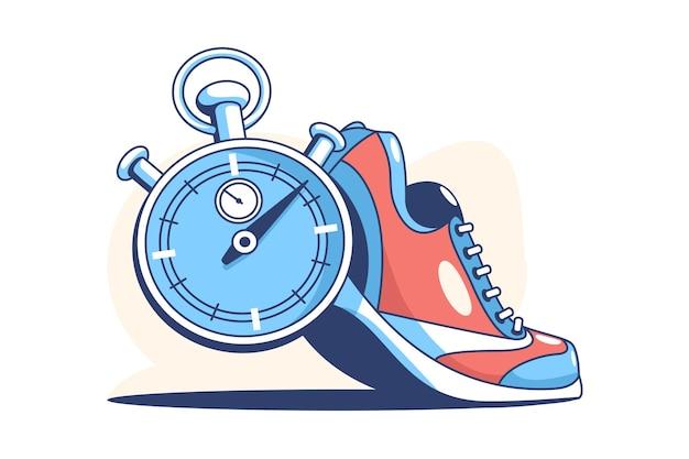 Кроссовки и секундомер плоский стиль иллюстрации