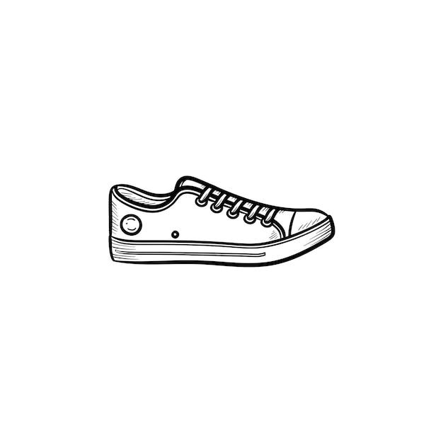 운동 화 손으로 그린 개요 낙서 아이콘입니다. 어린이 및 청소년 캐주얼 신발, 패션 스타일 신발 개념. 인쇄, 웹, 모바일 및 흰색 배경에 인포 그래픽에 대한 벡터 스케치 그림.