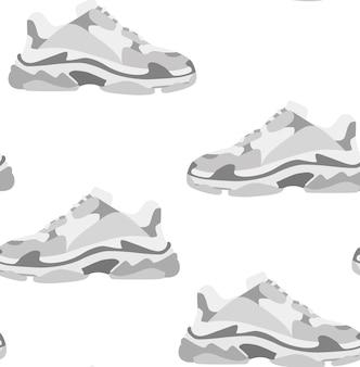 운동 화 신발 완벽 한 패턴입니다. 개념 평면 디자인. 벡터 일러스트 레이 션. 플랫 스타일의 운동화. 운동화 옆모습. 패션 스니커즈