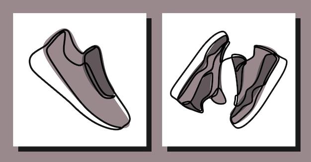 Кроссовки спортивная обувь one line continuous line set
