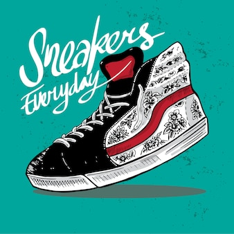 Sneakers everyday illustration art drawing shoe