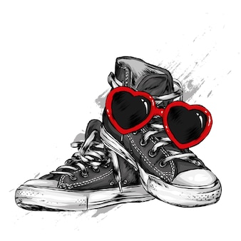 Sneakers and glasses in the shape of a heart. shoes and accessories. valentine's day, love and romance. vector illustration.