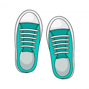 Sneakers icon, mint color. casual shoes.