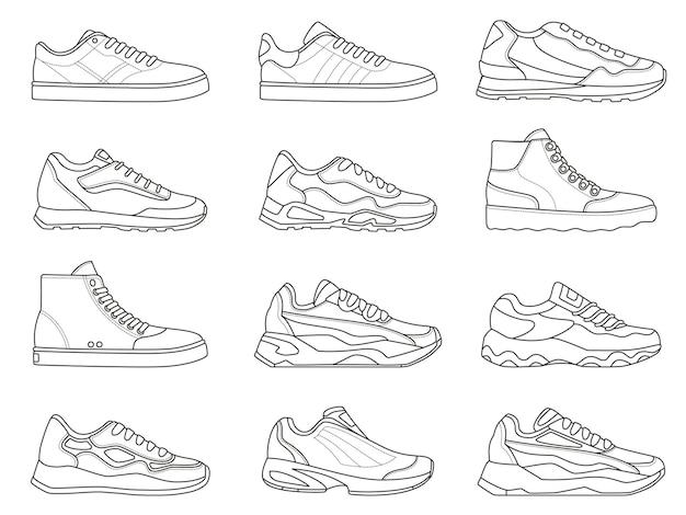スニーカーのアイコン。ランニングとフィットネスのためのスポーツシューズの種類の概要を説明します。ミニマリストのラインスニーカーのシンボル。ジムの靴のベクトルセットのファッションデザイン。アクティブなライフスタイルのための現代のトレンディなトレーナー