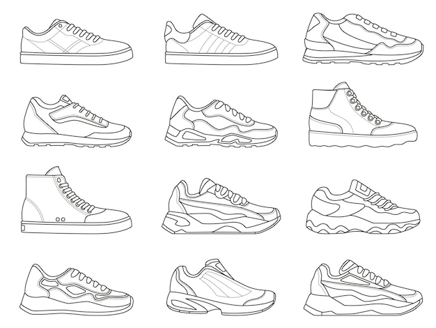 Sneakers icon. outline sport shoe types for running and fitness. minimalist line sneaker symbols. fashion design of gym footwear vector set. modern trendy trainers for active lifestyle